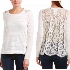CAbi Sophia Lace Back Sweater Ivory Style 5005